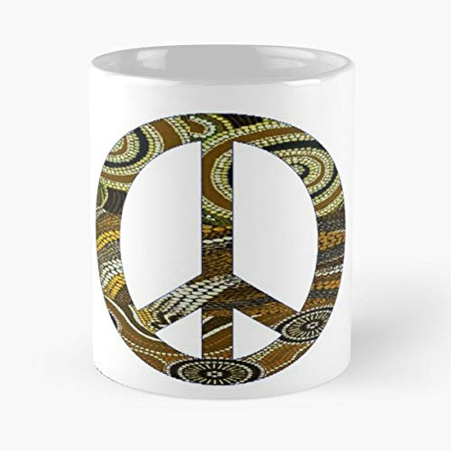 - Aboriginal Peace Sign Aussie Oz Tribal - Morning Coffee Mug Ceramic Best Gift