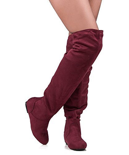 Women's TREND-Hi Over-the-Knee Thigh High Flat Slouchy Shaft Low Heel Boots by ROOM OF FASHION WINE SU (Red Flat Boots)
