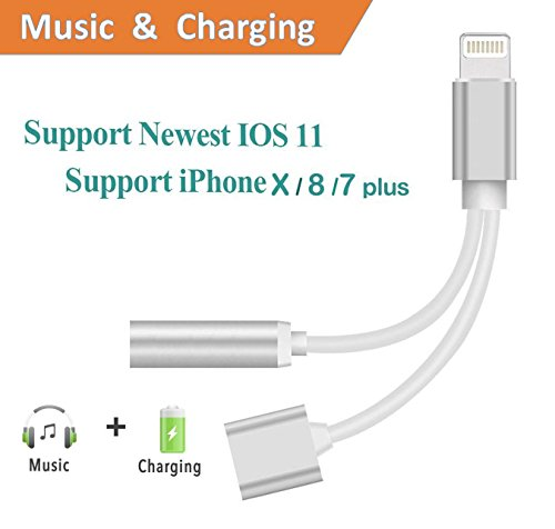 MOOSENG Lightning to 3.5mm Headphone jack aux adapter for iPhone 7/7 Plus -(iOS 10.2,10.3), White