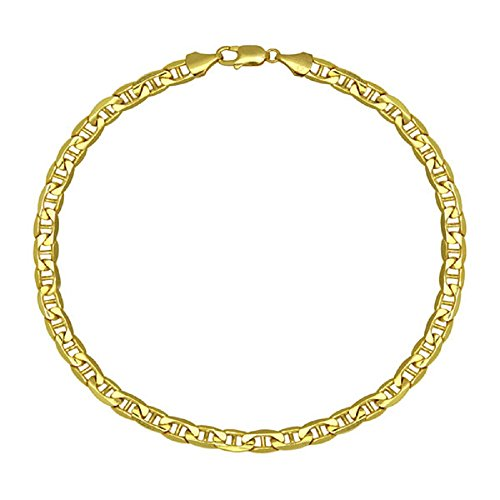 14K Yellow Gold 3.5mm Mariner/Marina Link Chain Necklace- Made In Italy- Multiple Lengths Available ()