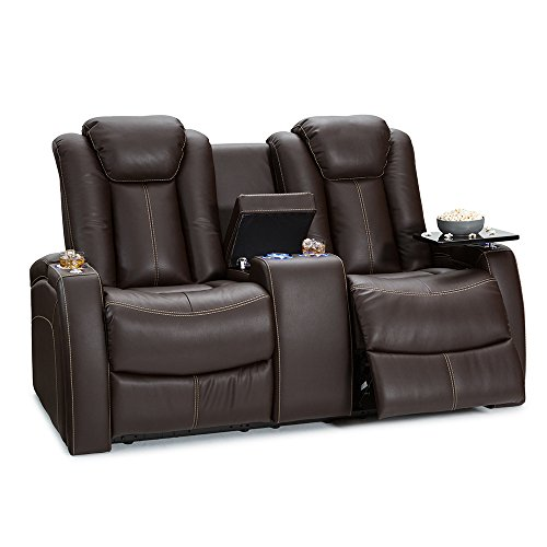 Seatcraft Republic Leather Home Theater Power Recline Loveseat with Center Storage Console (Brown)