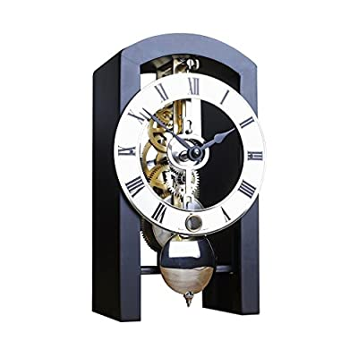 Hermle PATTERSON Mechanical Table Clock #23015740721, Black - DESIGN: Hermle Patterson is a skeleton table clock with an arched wooden case allowing to see the mechanism. Dimensions: 7 1/2 x 4 1/4 x 3 1/4 inches. MOVEMENT: 14-day Mechanical Time Only Movement - Wind it just once every two weeks and watch these gears go. GREAT GIFT: Hermle Patterson Clock makes the best gift for any occasion - clocks, bedroom-decor, bedroom - 417uBLchaNL. SS400  -