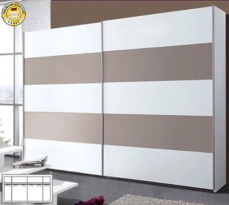 Arte M – Armario ropero de Puertas correderas 769862 Blanco Cristal Steingrau 302 cm: Amazon.es: Hogar