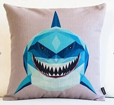 Big whale Big shark and boat Pillow Case Cotton Blend Linen Cushion Cover  Sofa Decorative Square