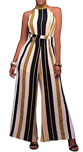 Women's Cut-In Shoulder Vertical Stripe Wide Leg Jumpsuit Romper, Yellow, Medium from Doris Apparel