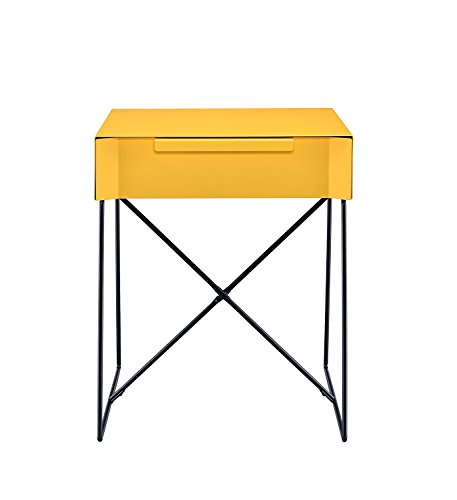 Major-Q Retro Styled Side Table with Metal Base for Bedroom/Living room/Game room, Yellow Finish 18 x 15 x 22 by Major-Q (Image #2)