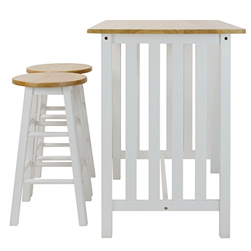 Casual Home 3-Piece Breakfast Set with Solid American Hardwood Top, White by Casual Home (Image #2)