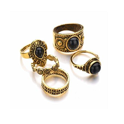 DesiDo - Lote de anillos, diseño vintage con distintos símbolos, color dorado o plateado