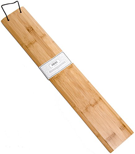 Unique Bamboo Baguette Bread Flipping Board - Hardwood Dough Transfer Peel with Leather Handle for Professional & Home Baker By O'Delice Bakery