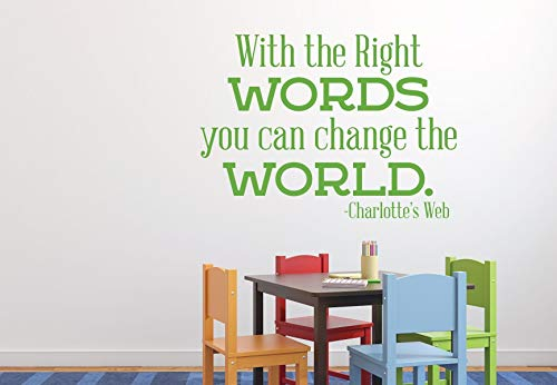 BYRON HOYLE Change The World Inspirational Word Decals Vinyl Wall Decor - Charlotte's Web Quote Sticker Lettering for Home Decor, Schools, Preschools,