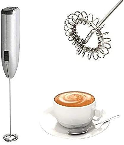 泡立て器 ミニミキサー自動ミルク泡立て器電気手すりステンレス鋼ポータブルフォーマーMixe キッチンツール (Color : Silver, Size : One size)