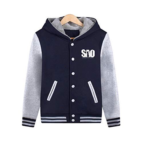 ELEFINE Boys Men's SAO Fleece Thick Hoodies Sword Art Online Cosplay Button Jacket Halloween Baseball Uniform Navy&Gray S]()