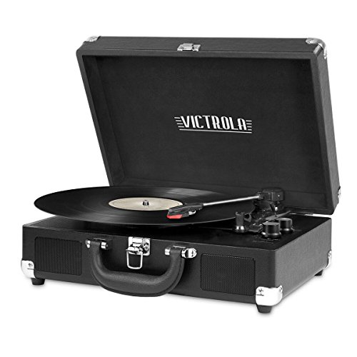 Victrola Vintage 3-Speed Bluetooth Suitcase Turntable with Speakers, Black Image