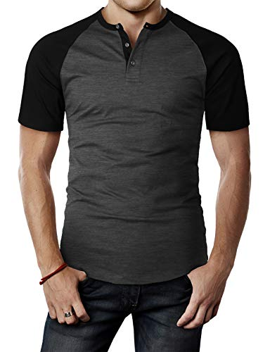 H2H Mens Casual Slim Fit Henley T-Shirts Raglan Baseball Short Sleeve CHARCOALBLACK US S/Asia M (CMTTS238)