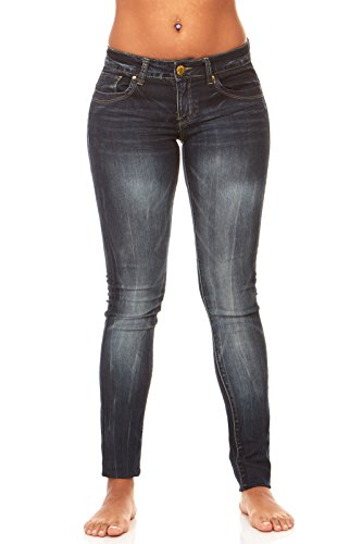 Low Rise Plus Size Jeans (V.I.P.JEANS Classic Skinny Jeans for Women Slim Fit Stretch Stone Washed Jeans Plus Size 18/Black Blue Denim)