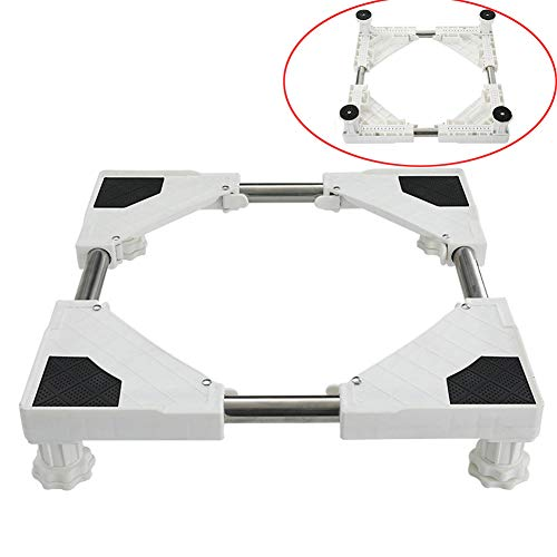 Washing Machine Base Adjustable Movable Base with 4/8/12 Feet Furniture Mobile Stand for Dryer, Refrigerator,Washing Machine (4 feets + small frame)