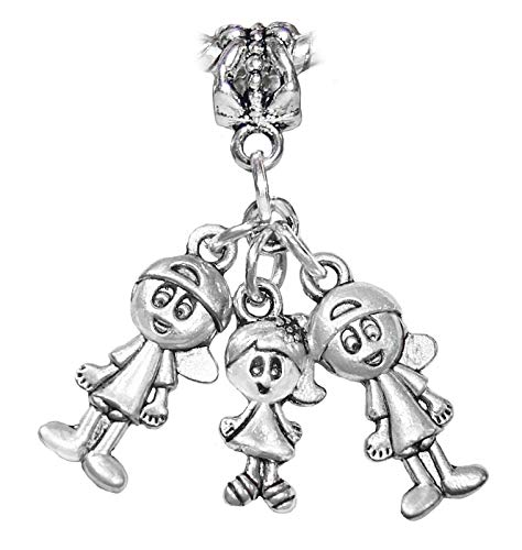 Triplets 2 Boys 1 Girl Brothers Sisters Kids Dangle Charm for European Bracelets Crafting Key Chain Bracelet Necklace Jewelry Accessories Pendants