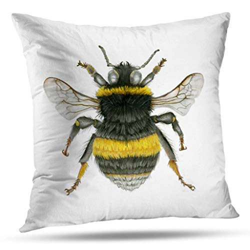 (Pakaku Throw Pillows Covers for Couch/Bed 16 x 16 inch,Bumblebee Home Sofa Cushion Cover Pillowcase Gift Decorative Hidden Zipper Design Cotton and Polyester Blended Soft Touch)