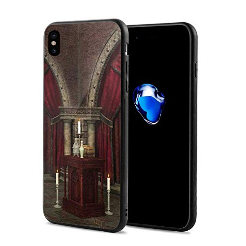 (Compatible with iPhone X Case,Mysterious Dark Room in Castle Ancient Pillars Candles Spiritual Atmosphere Pattern,Soft Rubber Phone Case Cover)