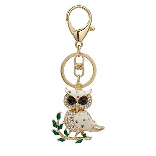 LIOOBO Rhinestone Branch Owl Pendant Metal Keyring Purse Hand Bag Car Charm Keychain Gift ()