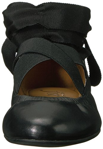 Lace Black Elastic Strap Ballet Women's up Fix Singh Ankle Flat The PSqgWTXX