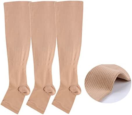 Open toe Toeless Compression Socks 3 Pairs For Women& Men 15-20 mmHg Knee High Toeless Support Stockings Hose Athletic Fit for Running Nurses Travel Pregnancy Recovery (L/XL, Nude)