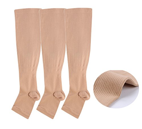 Open toe Toeless Compression Socks 3 Pairs For Women& Men 15-20 mmHg Knee High Toeless Support Stockings Hose Athletic Fit for Running Nurses Travel Pregnancy Recovery (L/XL, Nude) ()