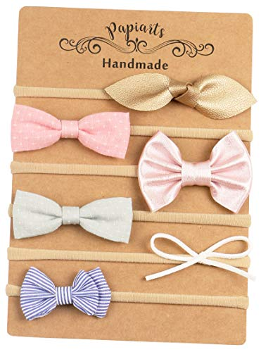 Baby Girl Headbands and Bows, Skinny Nylon Headbands, Assorted 6 Packs of Hair Accessories for Newborn Toddler Girls