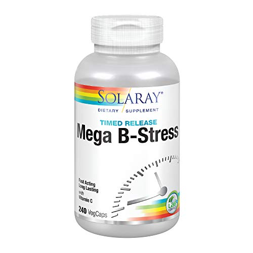 Solaray Mega Vitamin B-Stress, Two-Stage Timed-Release Specially Formulated w B Complex Vitamins for Stress Support Non-GMO Vegan 240 Tabs