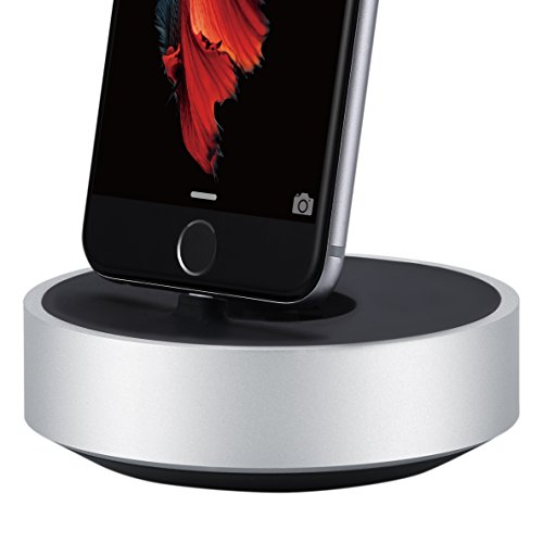 JUST MOBILE HoverDock Charging Dock Aluminum Stand for Lightning iPhone, iPad, iPod, AirPods, Apple Pencil, Magic Keyboard, Magic Mouse 2, Apple Remote, FaceTime Skype Rotating Dock (ST-268)