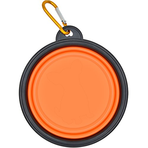 Meicent Collapsible Dog Travel Bowl with Carabiner Clip, FDA Approved, BPA-Free Silicone Portable Pet Bowl for Dogs & Cats,Small Animals,Feeding&Watering Supply(Orange)