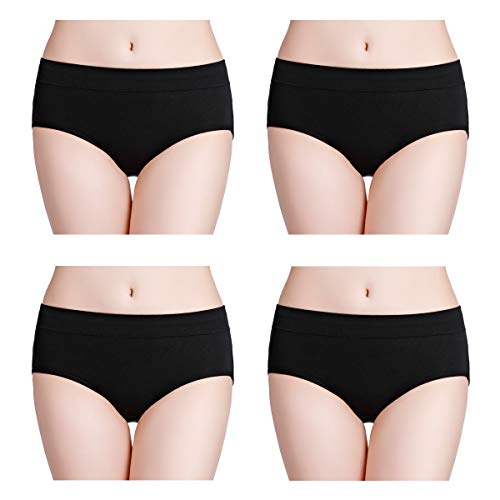 wirarpa Womens Soft Cotton Stretch Underwear 4 Pack Comfortable Mid Rise Briefs Underpants Black, Size 7