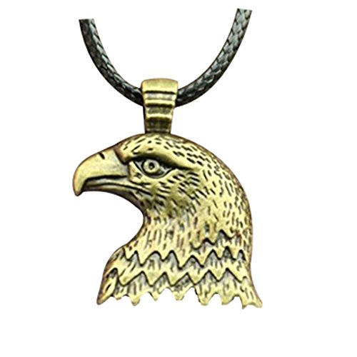 fashion antique bronze color eagle head pendant leather chain necklace