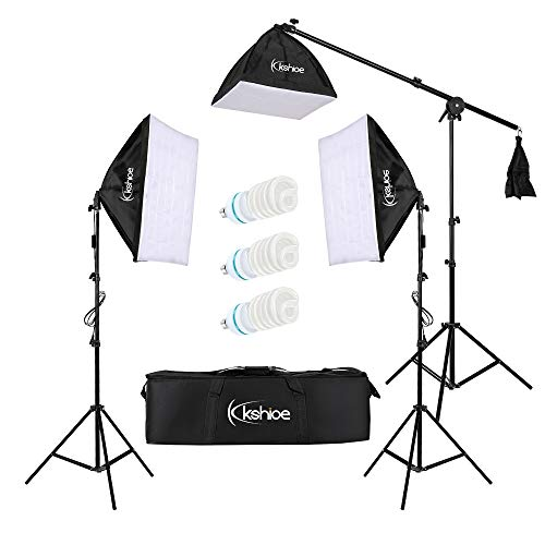 Kshioe 65W Photo Studio Photography Soft Box Lights Continuous Lighting Kit Diffuser 3X 65w Bulbs, 24''x 24'' Softbox, 86'' Light Stand, Carring Bag