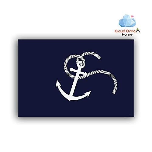 (Home Bathroom Bath Shower Bedroom Mat Toilet Floor Door Mat Rug Carpet Pad Doormat(23.6 x15.7inch)(White Nautical Anchor Navy Blue ))