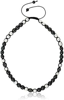 Pave Disco Ball /& White Cultured Freshwater Pearl Adjustable Necklace