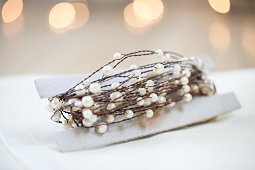 Pearl Garland with Ivory Pearl Beads on Rustic Wire 24 feet