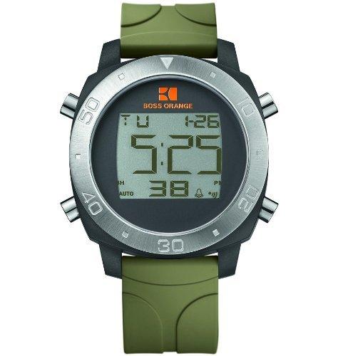 Hugo Boss Orange Digital Dial Green Rubber Mens Watch 1512675
