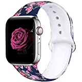 EXCHAR Compatible with Apple Watch Band 40mm 38mm Fadeless Pattern Printed Floral Bands Silicone Replacement Band for iWatch Series 5 Series 4/3/2/1 for Women Men M/L Flower J04