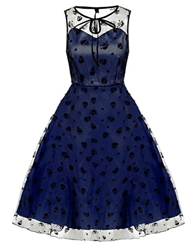 Women Vintage Dress, Sleeveless Lace Retro Floral Embroidery Prom Cocktail Dress (M, Blue)