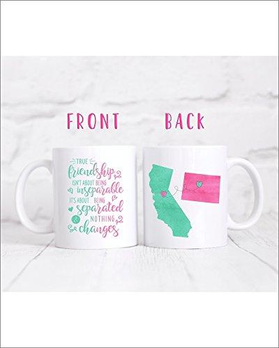 Friendship Long Distance Coffee Mug - Long Distance Mug - State Mug - Moving Away Gift - 11oz/15oz mug- M0402