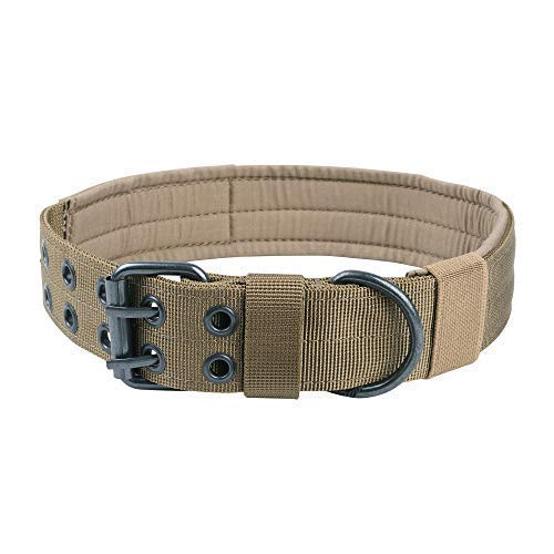EXCELLENT ELITE SPANKER Nylon Tactical Dog Collar Military Adjustable Training Dog Collar with Double Metal D Ring Buckle(CoyoteBrown-L) - Collar D-ring Training