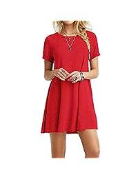 Casual para Mujer Plain ajuste Flowy Simple Swing playera floja vestido de túnica, Rojo, S, 1