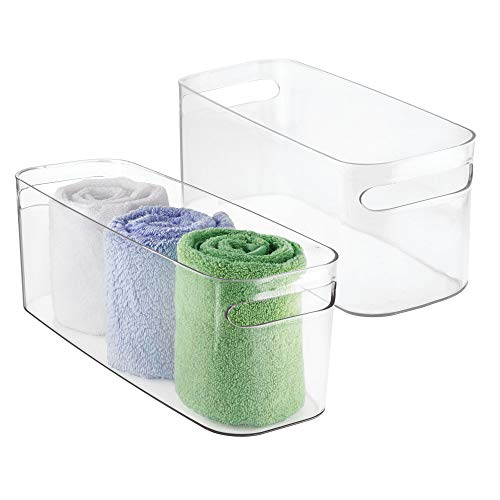 mDesign Bathroom Vanity Plastic Organizer Storage Bin Tote for Health and Beauty Products, Shampoo Bottles, Lotions, Hand Towels - 16 x 6 x 6 - 2 Pack - Clear