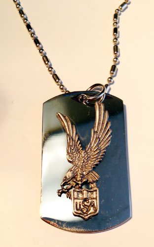 - United States America Usa Soaring Eagle Seal Pewter Emblem Logo Symbols - Military Dog Tag Luggage Tag Key Chain Metal Chain Necklace
