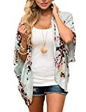 BB&KK Summer Chiffon Cardigan Kimonos for Women Boho-Chic Style Open Front Cover Ups Floral Kimono Jacket Wraps Tops Capes Shawl Plus Size Kimono (Green 4XL)