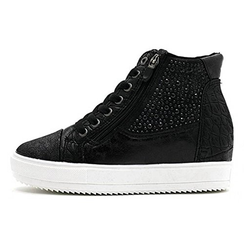 EpicStep Women's Black Casual Comfy Studded Leather Tall up Hidden Wedges High Mid Heels Sneakers Shoes 7.5 M US