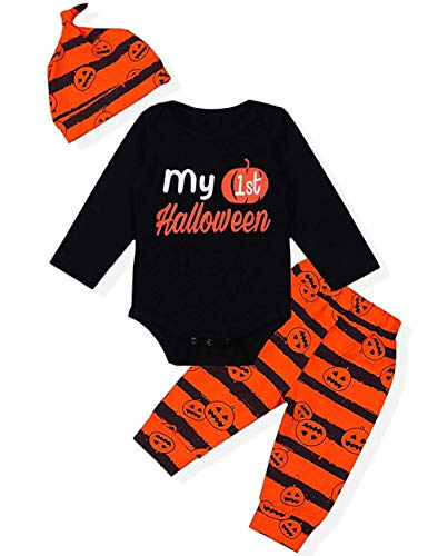 MILWAY Baby Boys Girls Halloween Clothes Set My 1st Halloween Romper + Striped Pants + Cap 3Pcs Outfits(70/0-6months, Multicoloured)