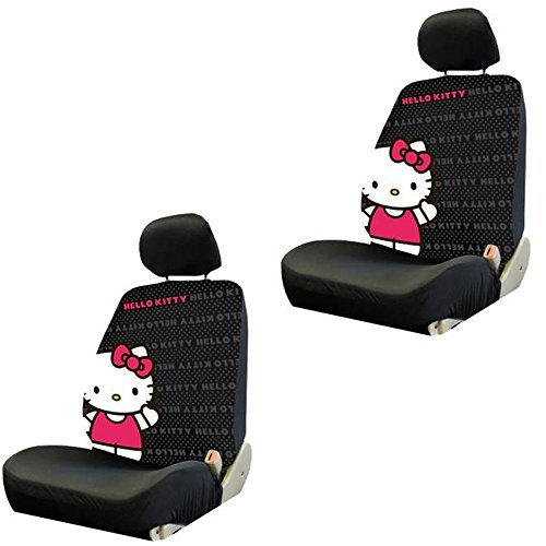 Hello Kitty with Bow Core Waving Sanrio Auto Car Truck SUV Vehicle Low Back Front Bucket Seat Covers - PAIR