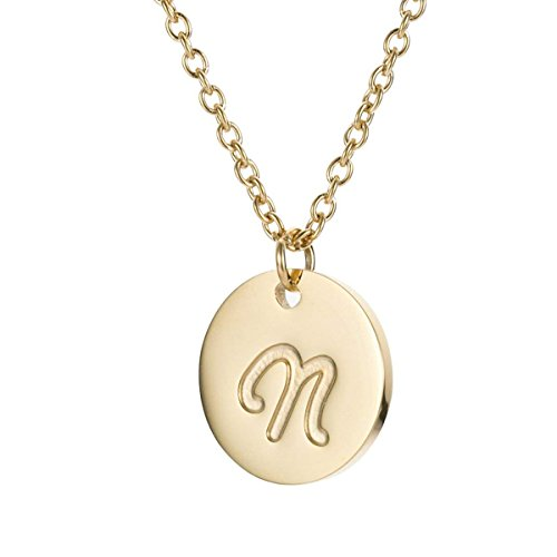 TTVOVO Initial Letter Necklace Stainless Steel 18K Gold Filled Engraved Personalized Disc 26 Alphabet Monogram Name Charms Pendant Necklace for Women - Letter N